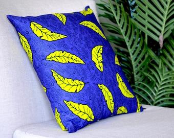 New Leaf // Ankara Throw Pillow Cover// African Print // 18 x 18