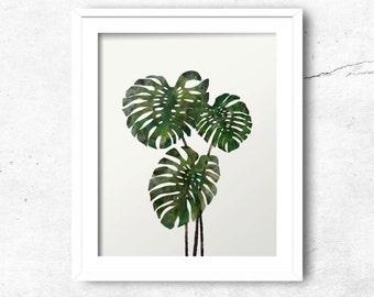 Monstera Art Print, Tropical plant, Instant Download, Digital Art Print, Wall Decor, Modern Wall Art Illustration