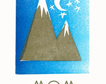 Mama Mountain and Baby Mountain linocut letterpress card