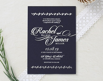 Luxe Meets Rustic Foil Wedding Stationery, Navy - IWF16099-GB-GS