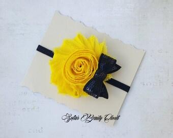 Yellow black headband. Bee headband. Bumble bee headband. Newborn headband. Infant headbands. Baby girl headband. Yellow headband. Headbands