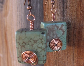Copper, Howlite Earrings
