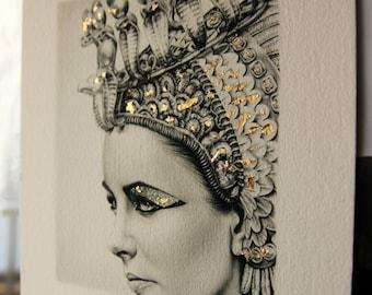 Elizabeth Taylor Pencil Portrait Drawing Fine Art LIMITED EDITION Gold Leaf Signed Print