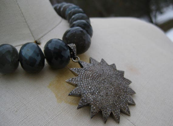 SIDONIA    Faceted Grey Moonstone with Pave Diamond Sun/StarBurst Pendant