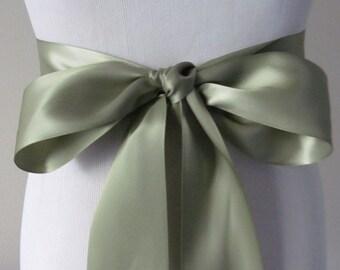 Soft Pine Ribbon Sash / Double Faced Ribbon Sash / Bridal Sash  /Bridal  / Soft Pine