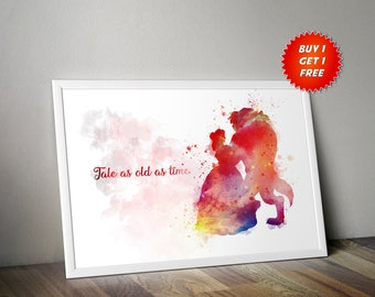Beauty And The Beast, Watercolour,Poster, Print,Nursery, Tale As Old As Time, Gift, Birthday,Belle, Beast, Disney,Be Our Guest, Kids, Decor