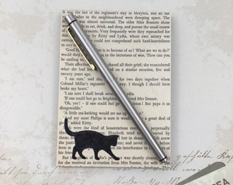 Recycled Mini Notepad with an Upcycled Vintage 1970's Jane Austen Pride and Prejudice Book Print Book Cover with Black Cat Silhouette