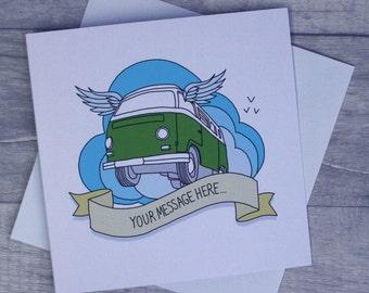 Personalised Campervan Greetings Card -  Choose van, colour & message... Bay/Split/T25