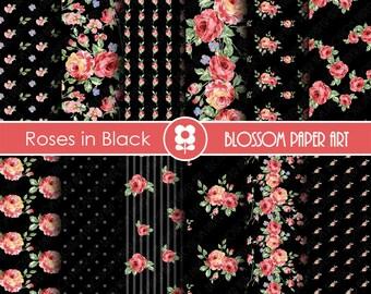Black Digital Papers, Rose Scrapbook Paper Pack, Digital Paper, Decoupage, Scrapbooking, Cardmaking - Collage Sheet - 1741