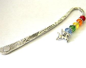 Pegasus Bookmark with Rainbow Mix Glass Beads Celestial Bookmark Shepherd Hook Metal Bookmark