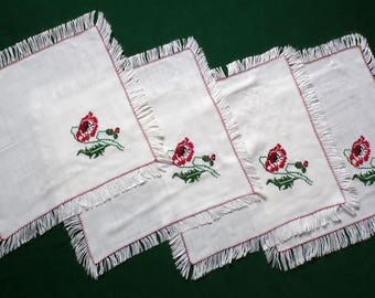 Vintage coffee set of four cotton table toppers with fringe cross stitch poppies embroidery table topper fringed poppy table toppers