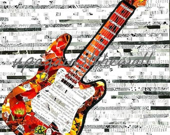 Fender Love. Print on card stock. Torn paper art. Collage with magazines.