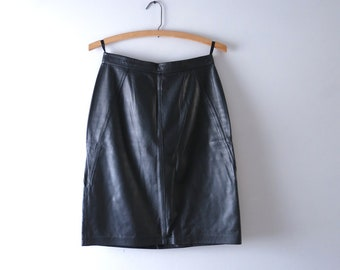 Vintage 80s Leather Skirt S | 1980s Tarazzia Black Leather Skirt