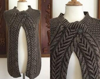 Vintage 90s / Brown / Cable Knit / Sweater / Vest / Medium