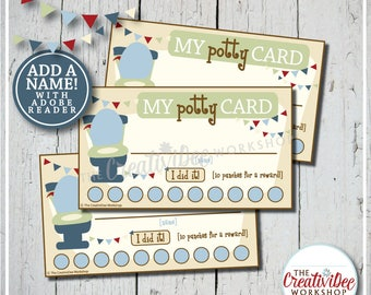 Potty Training Punch Cards | Editable Punch Cards | Blue | Boy | Potty Cards | Toilet Training | Punch Cards | Instant Download