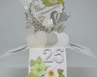 25th Wedding Anniversary Box Card - Pop Up Card - Card in a Box - Silver Anniversary