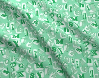 Green Alphabet Fabric - Alphabet In Green By Lburleighdesigns - Green Alphabet Nursery Decor Cotton Fabric By The Yard With Spoonflower