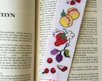 """Cross Stitch Bookmark, """"Jelly Time"""", Handcrafted Bookmark, Gift for Bookworm"""