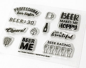 "Ms. Kimm Creates BREWTIFUL Beer Theme 3""X4 Photopolymer Clear Stamp Set - Beer, Planner, Bullet Journal, Project Life, Scrapbooking,"