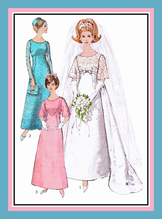 Vintage 1966-Empire Waist Wedding Gown-Sewing Pattern-Long Train ...