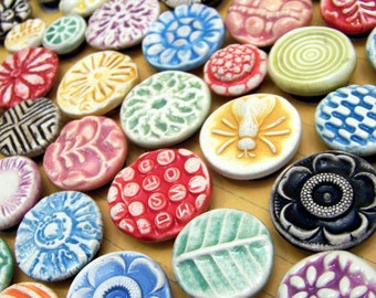 Ceramic Magnets in Bright Rainbow Colors and a multitude of textures