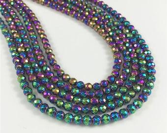 4mm Faceted Rainbow Hematite Beads, Hematite Jewery