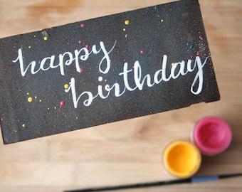 Happy Birthday painted chocolate bar