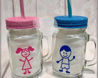 Childrens mason jars / flower girl / page boy / party gifts / wedding party / girls personalised gifts / boys personalised gifts / easter