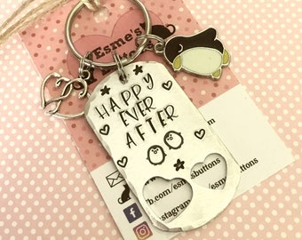 Wedding gift, penguin gift, husband gift, wife gift, Best friends gift, hand stamped, gift for her,gift for him,