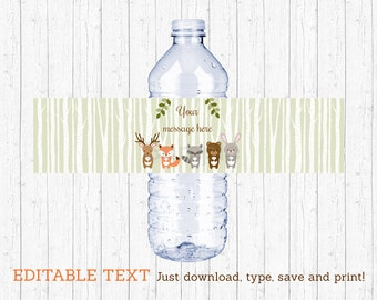 Woodland Forest Animal Water Bottle Wraps / Water Bottle Labels / Woodland Baby Shower / Printable INSTANT DOWNLOAD Editable PDF A187