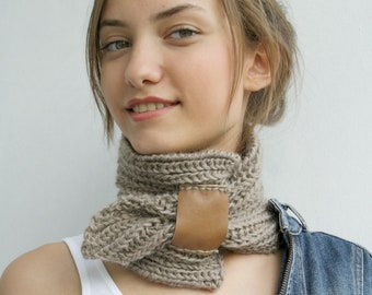 Hand Knit Milky Brown Mohair Brown Scarf With Leather Bridge / Knitted Collar / Neckwarmer Fall Fashion Knit Accessories