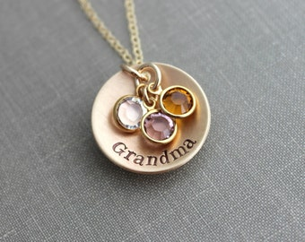 Hand Stamped Bronze and 14k Gold filled chain Grandma Necklace, Personalized with Swarovski Crystal Birthstones, Grandchildren, Grandmother