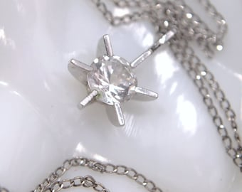 "Vintage Starburst Sterling CZ Necklace - THEDA Sterling Pendant - Diamonte Cubic Zirconia Solitaire Stone - 16"" Sterling ELKA Chain"