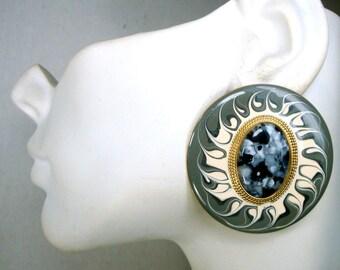 Large Enamel Post Round Earrings, Black Cream Grey Painted Sunburst w Speckled Cabochon Center,  1980s