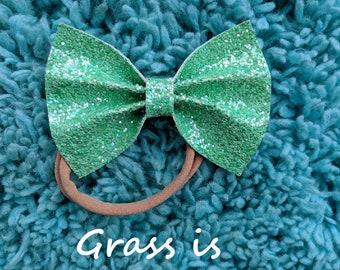 Green Chunky Glitter Bow (Grass is greener)