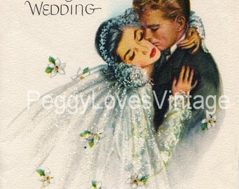 Wedding 46 Beautiful Bride and Groom a Digital Image from Vintage Greeting Cards - Instant Download