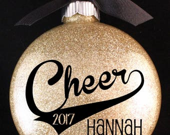 Cheerleader Christmas Ornament, Cheer Ornament with Name and Year