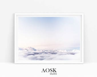 Sky Minimalist Poster, Travel Poster, Light Blue Art Print, Sky is the Limit, Up Minimalist Poster, Wall Decorating, Unique Travel Poster