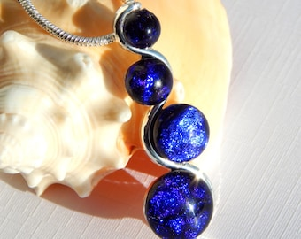Blue Glass Pendant - Dichroic Jewelry - Fused Glass Jewelry - Cobalt Blue Multi Cab Snake Necklace