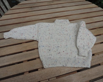 "HAND KNITTED  ""Toddler's Jumper with Speckles"" - Ready to Ship."