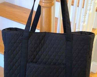 Black Quilted Tote Bag - Diaper Bag - Carryall Bag -