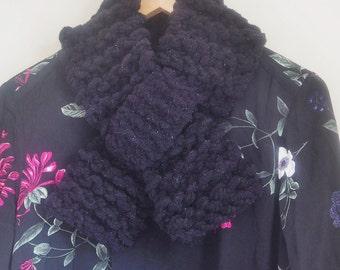 Knitted chenille black neckwarmer  Womens black collar Womens black scarf Womens black cowl Knitted black cowl Knit black collar 201
