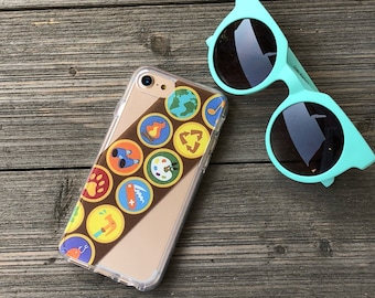Wilderness Scout Badges Phone Case for iPhone 5, SE, 6, 6 Plus, 7, 7Plus, 8, 8 Plus and X. TPU or Wood Options