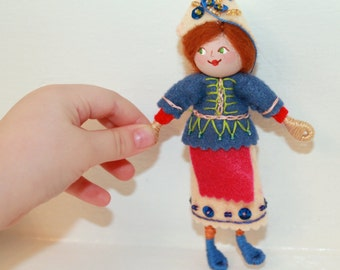 Handmade Felt Doll Felt Art Doll or Hanging Ornament Woodland Colors Pixie