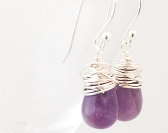 Amethyst Earrings - Wire Wrapped Earrings - Amethyst Silver Earrings - Purple Gemstone Earrings - Purple Silver Earrings