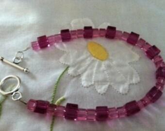 Fushia and Rose Swarovski Crystal Bracelet with Sterling Silver Toggle