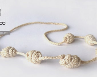 Light beige Irisbo, Crochet necklace, Necklace in natural fibers, Handmade knitted necklace