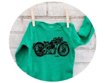 Long Sleeved Motorcycle Baby Onepeice Bodysuit, Cotton Infant Clothing, Motor Bike, Hand Printed Shirt, Screenprinted Top, Biker Baby Gift