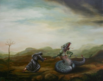 "oil on canvas ""St George"", oil painting oil painting, landscape, painting, Canvas Art, Wall Art, Modern Art Art"