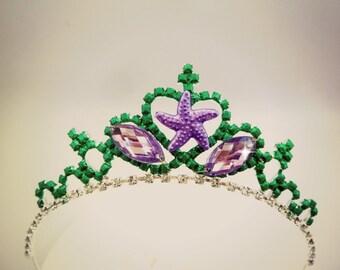 Mermaid Crown, Mermaid Tiara ,Little Mermaid Crown, Princess Ariel the Little Mermaid Headband Tiara Crown, Mermaid Tiara,Green purple Crown